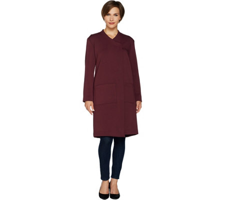 LOGO by Lori Goldstein Scuba Ponte Coat with Patch Pockets