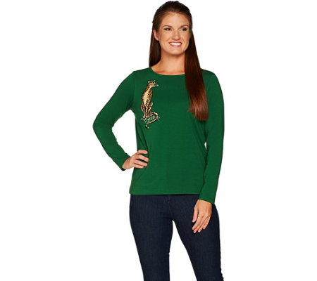 Bob Mackie's Long Sleeve Knit Top with Leopard Embroidery