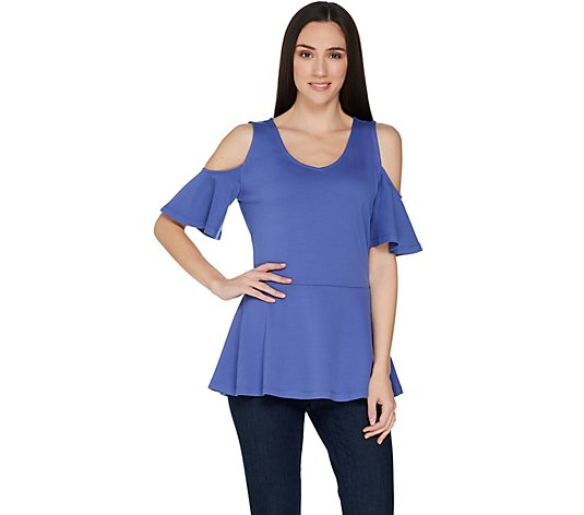 Isaac Mizrahi Live! Cold Shoulder Peplum Top