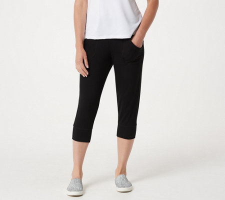LOGO by Lori Goldstein Heather Crepe Knit Cropped Pants