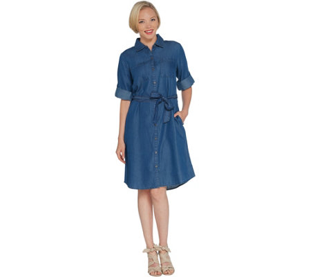 Martha Stewart Denim 3/4-Sleeve Shirt Dress