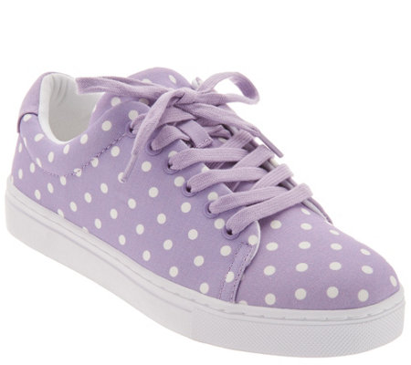 """As Is"" Isaac Mizrahi Live! Lace-Up Polka Dot Sneakers"