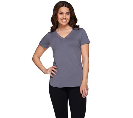 """As Is"" Linea Leisure by Louis Dell'Olio Short Sleeve V-Neck Top"