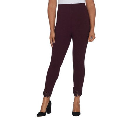 Kelly by Clinton Kelly Petite Ponte Pull-On Ankle Pants w/ Lace