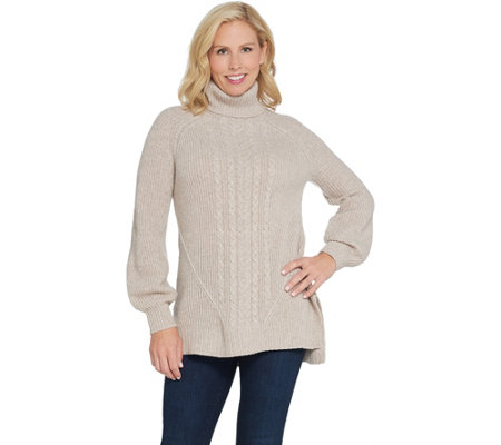 Isaac Mizrahi Live! 2-Ply Cashmere Cable Knit Turtleneck Sweater