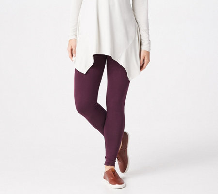 LOGO Layers by Lori Goldstein Regular Knit Legging with Back Pockets