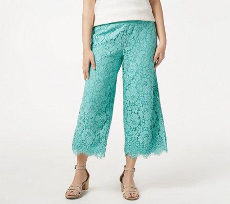 Isaac Mizrahi Live Petite Floral Lace Knit Culotte Pants