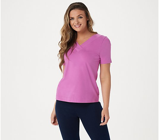Denim & Co. Crossover V-Neck Short Sleeve Top