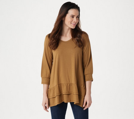 LOGO by Lori Goldstein Cotton Modal Top with Tiered Flounce Hem