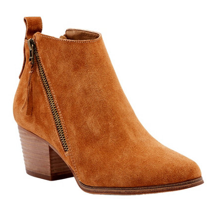 Sole Society Suede Asymmetrical Zip Booties - Mira