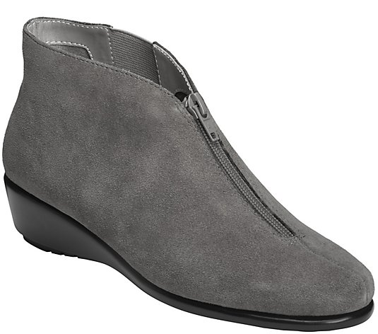 Aerosoles Stich N Turn Leather Wedge Booties -Allowance