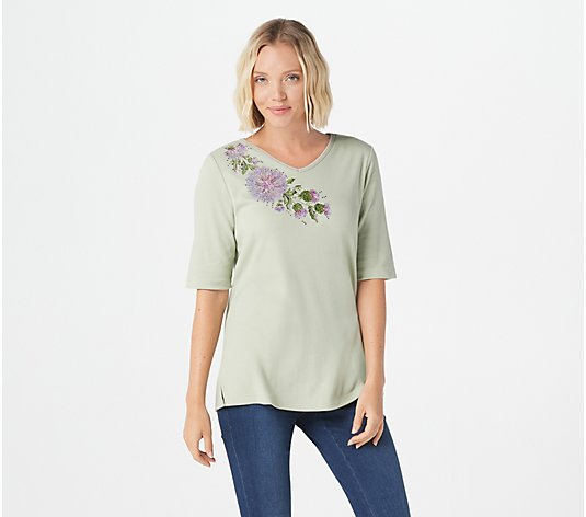 Quacker Factory Floral Embroidered Elbow-Sleeve V-Neck Top