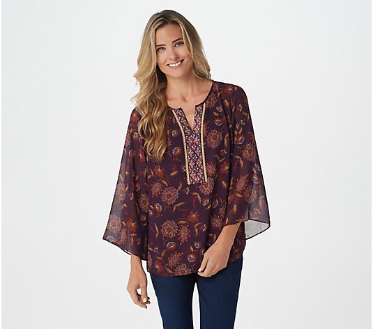 Belle by Kim Gravel Autumn Floral Blouse