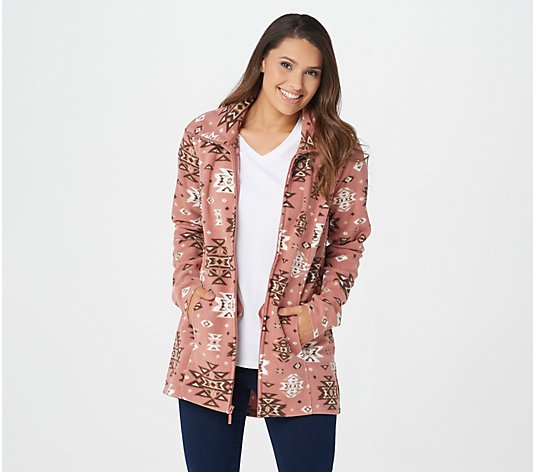 Denim & Co. Printed Fleece Long-Sleeve Jacket with Pockets