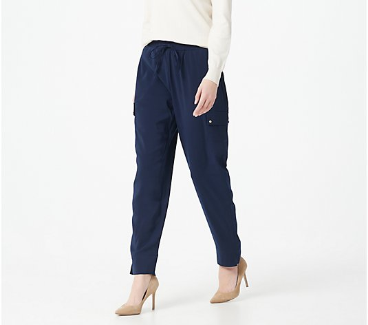 Susan Graver Stretch Satin-Back Crepe Pull-On Ankle Pants