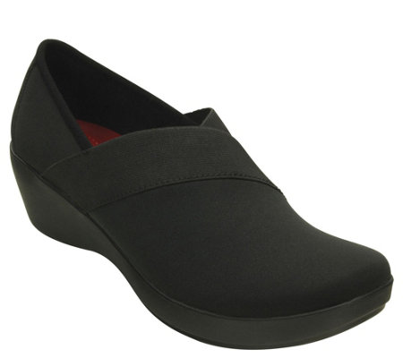 Crocs Wedge Slip Ons - Busy Day Stretch Asym