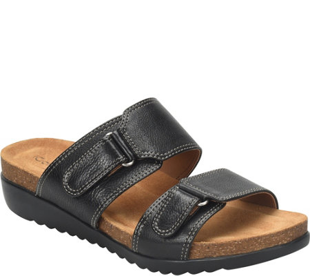 Comfortiva Leather Slide Sandals - Evita