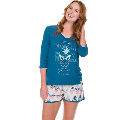 Munki Munki Pineapple Sassy Glasses Tee Shorts Pajama Set