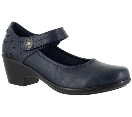 Easy Street Mary Janes With Laser Cut Detail Camellia