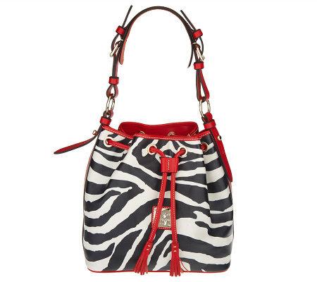 Dooney Bourke Leather Zebra Print Drawstring Bag