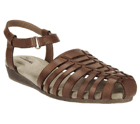 73cfa841ad99 Clarks Huarache Wedge Leather Sandals - Jaina Canary - Page 1 — QVC.com