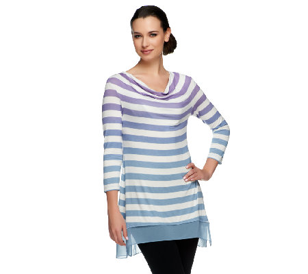 LOGO by Lori Goldstein Ombre Striped Knit Top with Chiffon Trim