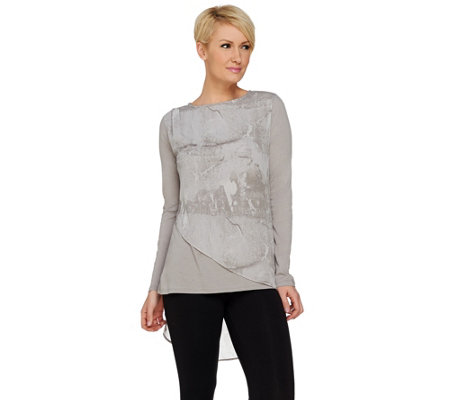 H by Halston Printed Chiffon Overlay Knit Long Sleeve Top