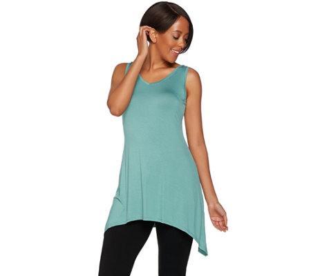 LOGO Layers by Lori Goldstein Regular V-Neck Knit Tank with Asymmetric Hem