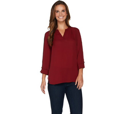Susan Graver Feather Weave Y-Neck Tunic with Roll Tab Sleeves
