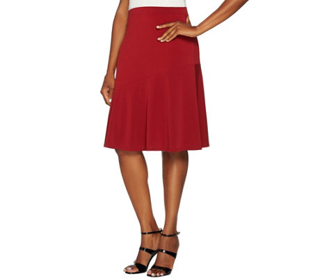 Susan Graver Liquid Knit Knee Length Pull-On Skirt
