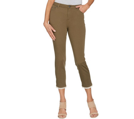 LOGO by Lori Goldstein Stretch Twill Ankle Pants w/ Lace Detail