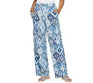 Denim & Co. Beach Regular Wide-Leg Pull-On Knit Cargo Pants - A289177