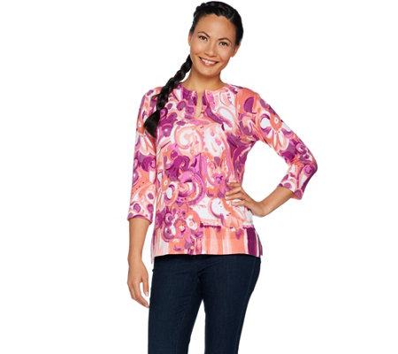 Isaac Mizrahi Live! Engineered Paisley Printed Cardigan