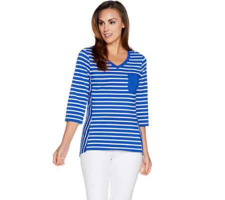 Denim & Co. Active Perfect Jersey Striped 3/4 Sleeve Top w/ High Low Hem
