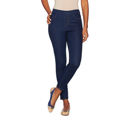 """As Is"" Denim & Co. Petite Pull-on Slim Leg Ankle Jeans"