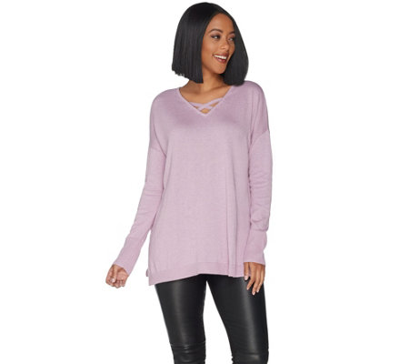 H by Halston Crisscross V-Neck Pullover Sweater