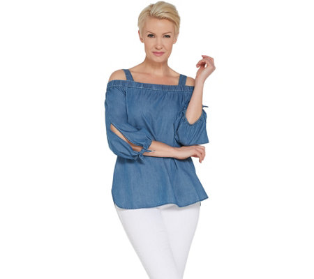 GRAVER Susan Graver Chambray Off-the- Shoulder Tunic