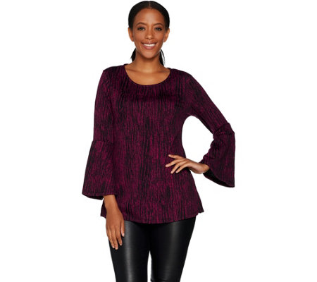 """As Is"" H by Halston Knit Jacquard Scoop Neck Bell Sleeve Tunic"