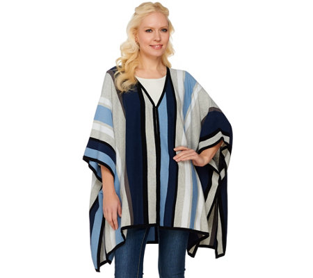 """As Is"" Isaac Mizrahi Live! SOHO Striped Sweater Poncho with Side Slits"