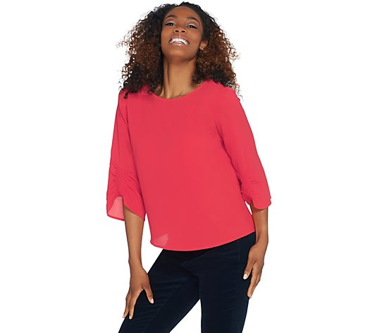 Vince Camuto Gathered Sleeve Boat-Neck Soft Texture Blouse