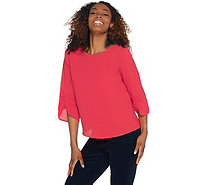Vince Camuto Gathered Sleeve Boat-Neck Soft Texture Blouse - A343277