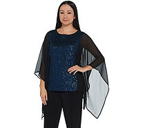 Bob Mackie's Sequin Top with Chiffon Side Panels - A344977