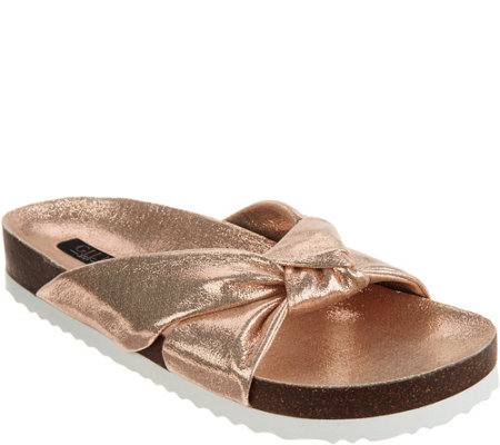 """As Is"" G.I.L.I Knotted Strap Slide Sandals - Pearlia"