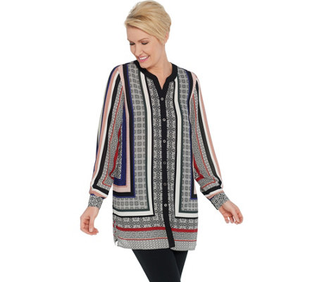 Susan Graver Printed Woven Button-Front Tunic Shirt