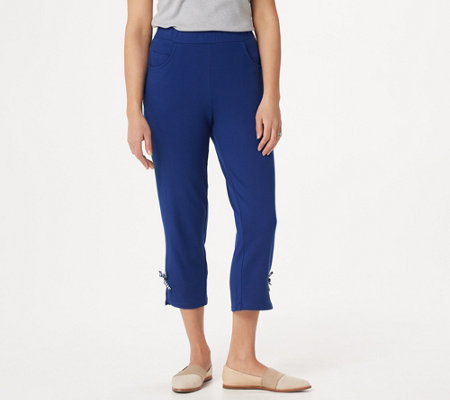 Quacker Factory French Terry Crop Pants with Gingham Bow Detail