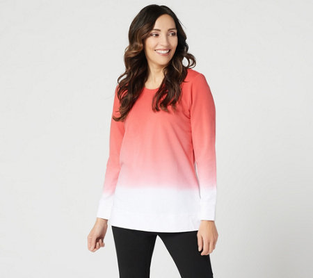 Denim & Co. French Terry Dip Dye Long-Sleeve Tunic