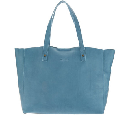 """As Is"" American Leather Co. Glove Leather Open Tote-Davis"