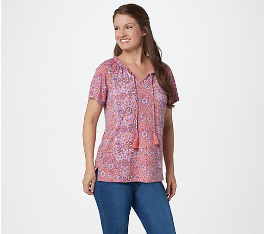 Isaac Mizrahi Live! Knit Engineered Floral Print Peasant Top