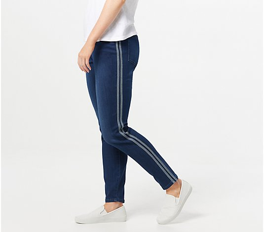 Belle by Kim Gravel TripleLuxe Denim Racer Stripe Jeans