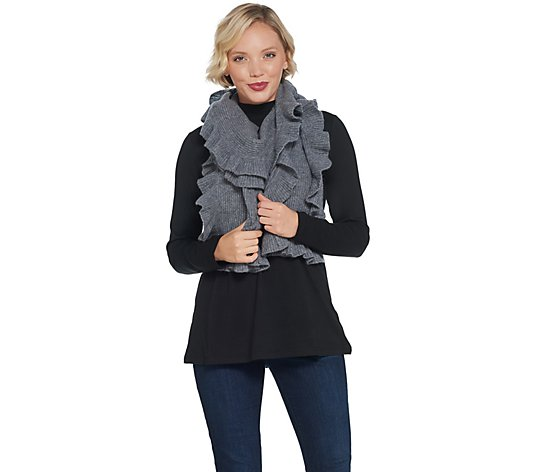 """As Is"" Isaac Mizrahi Live! 2-Ply Cashmere Ruffle Scarf"